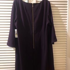 Plum Colored Bell Sleeved Shift Dress